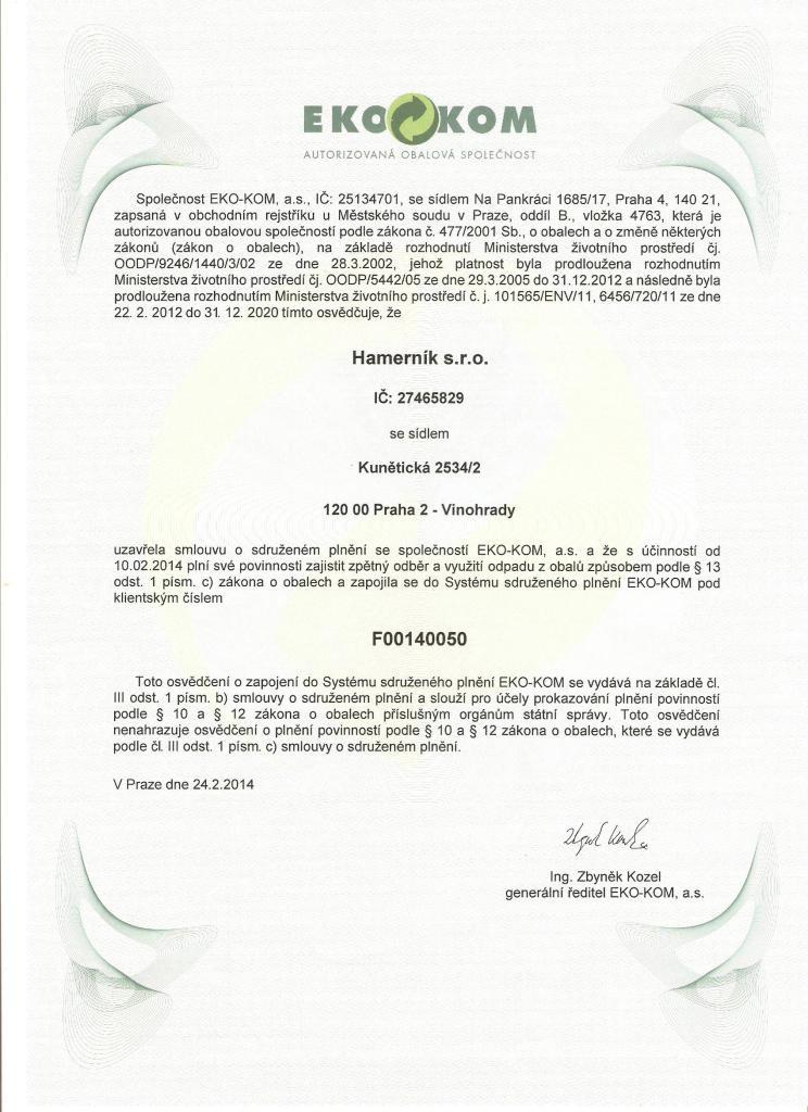 Ekokom - certifikát 001